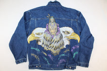 Native American and Eagle Vintage Mens Womens Unisex Custom Hand Painting Denim Jean Jacket