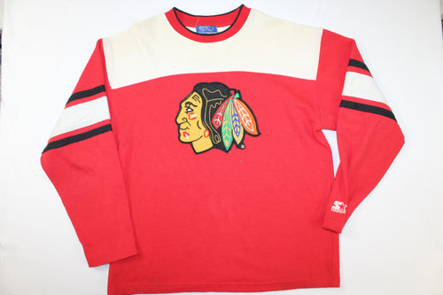 Chicago Blackhawks Vintage Starter Sweatshirt Sweater Hockey Jersey