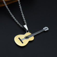 Gold Color Titanium Stainless Steel Music Guitar necklace for men - GuitarFlip