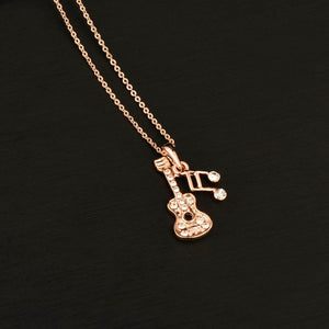 Musical Note Guitar  Necklace Rose Gold Color Chain - GuitarFlip