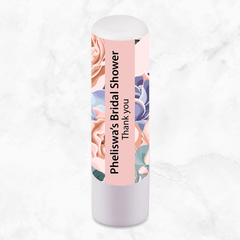 LIP BALM PERSONALISED FAVOUR -  Floral Succulent/Light Pink