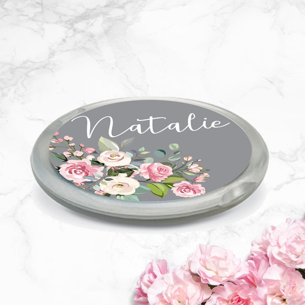 PERSONALISED FLORAL COMPACT MIRRORS - Floral Bloom - Grey