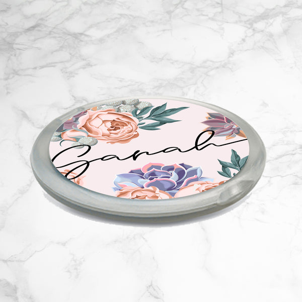 PERSONALISED FLORAL COMPACT MIRROR - Flower mystery - Light Pink