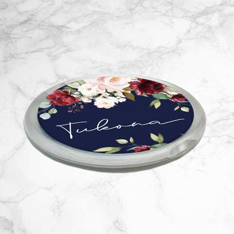 PERSONALISED FLORAL COMPACT MIRROR - Floral Burst - Navy Blue