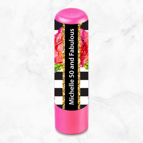 LIP BALM PERSONALISED FAVOUR - Floral Black & White Stripes