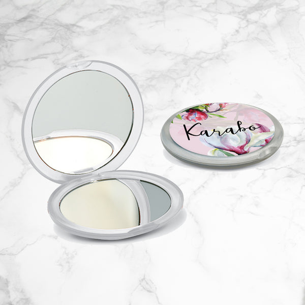 PERSONALISED FLORAL COMPACT MIRROR - Magnolia Floral
