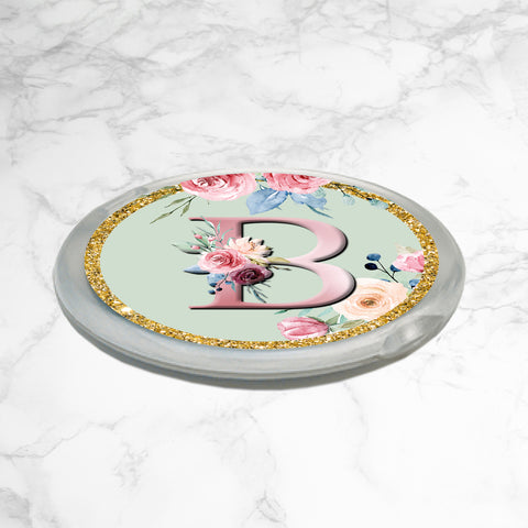 PERSONALISED FLORAL COMPACT MIRROR - Pastel Mint Floral Monogram