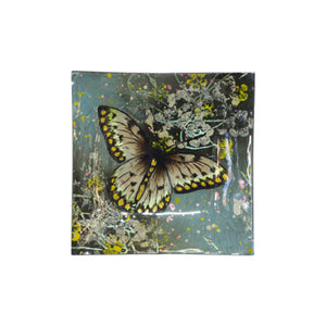 BUTTERFLY GOLD/CREAM SQUARE GLASS PLATE