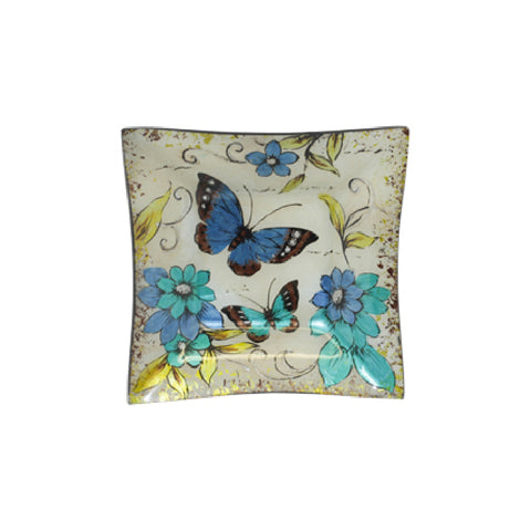 BLUE BUTTERFLY SQUARE PLATE