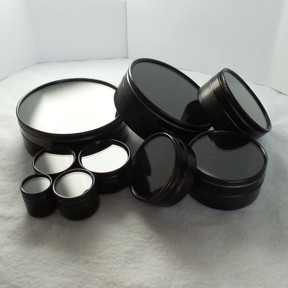 Round Glass Top Tins