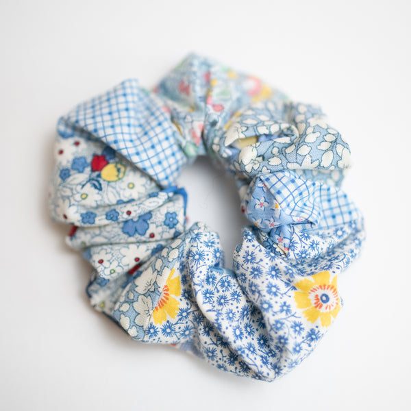 Blue Patterned Quilted Scrunchie