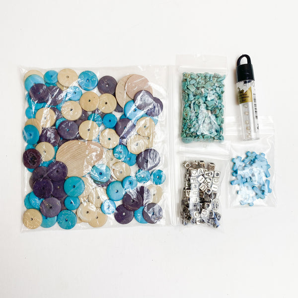 Collection of Blue + Brown Beads