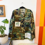 Stay Tender Army Jacket with Vintage Embroidered Applique - Size Medium