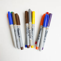 Five Colorful Permanent Markers
