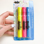 Blue, Yellow, + Pink Highlighters