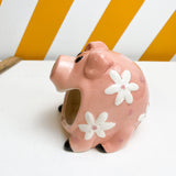 Ceramic Pig Sponge Dish with White Flowers
