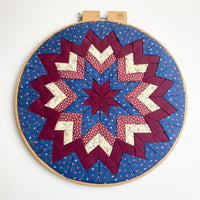 Quilted Red White + Blue Star Framed in Hoop