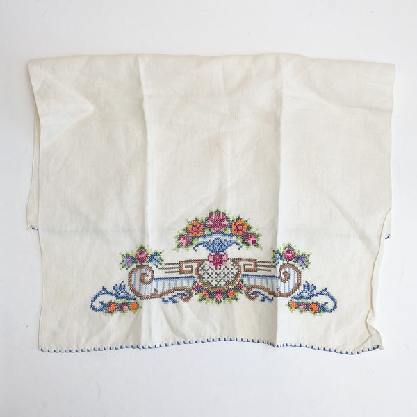 "Floral Cross Stitched Cloth - 14 1/2"" x 19"""