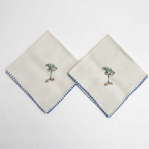 "Two Napkins with Cross Stitched Trees - 10 1/2"" x 10 1/2"""
