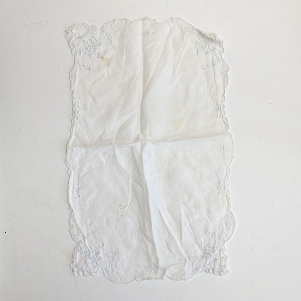 "White Cloth with Embroidered Edge - 10"" x 16"""