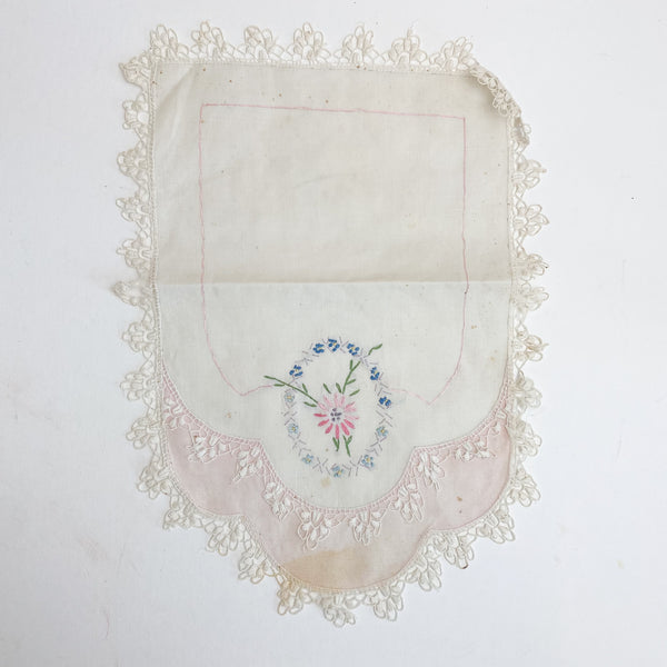 "Pink + White Floral Embroidered Cloth with Lace Edge - 10"" x 13"""