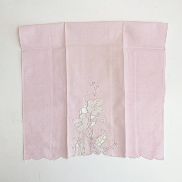 "Pink Floral Embroidered Cloth - 19 1/2"" x 13"""
