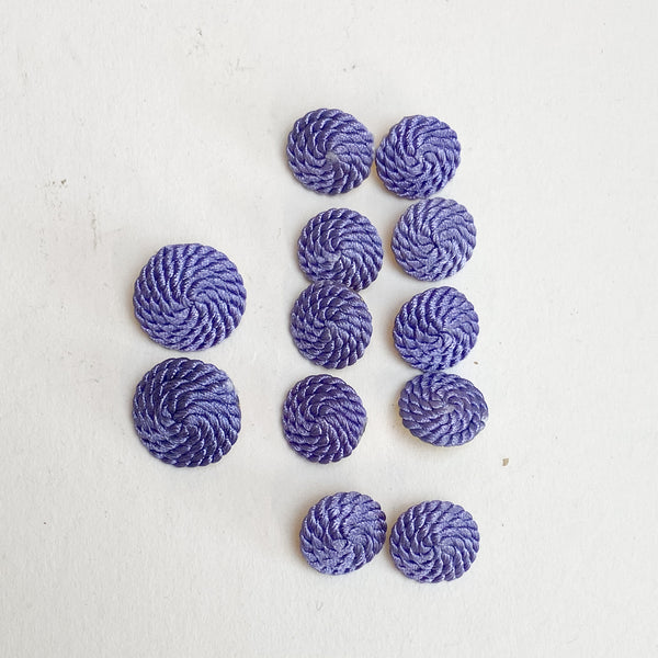 Round Purple Braided Buttons - Set of 12
