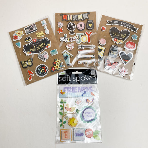 Assortment of 3D Scrapbooking Stickers