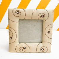 Beige Fabric Photo Frame with Brown Embroidered Details