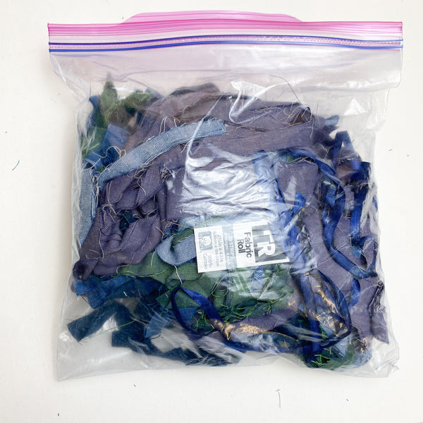 Bag of Small Fabric Strips - Shades of Green + Blue