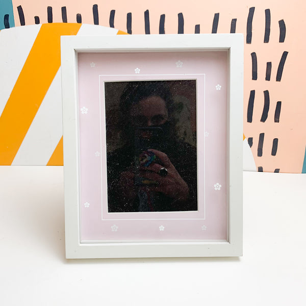 Pink + White Picture Frame