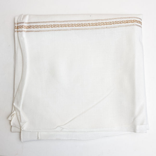 "White Woven Tablecloth Fabric with Gold Details - 40"" x 44"""
