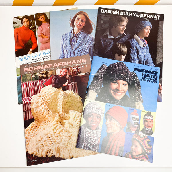 5 Bernat Vintage Knitting Pattern Books