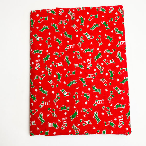"Red Stocking Quilting Weight Fabric - 42"" x 48"""