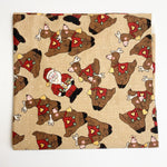 "Santa + Reindeer Quilting Weight Fabric -34"" x 42"""