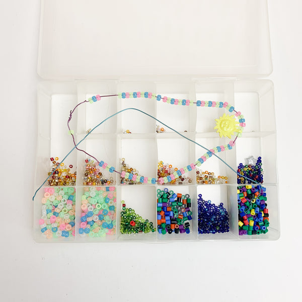 Plastic Compartment Case with Colorful Beads