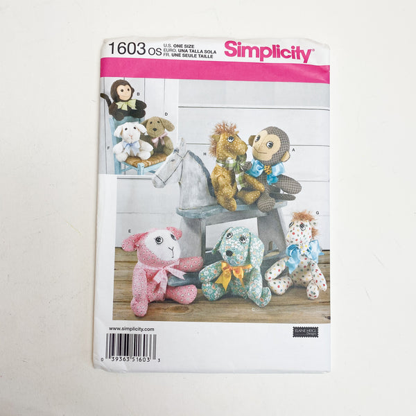 Variety of Stuffed Animal Sewing Pattern Simplicity 1603