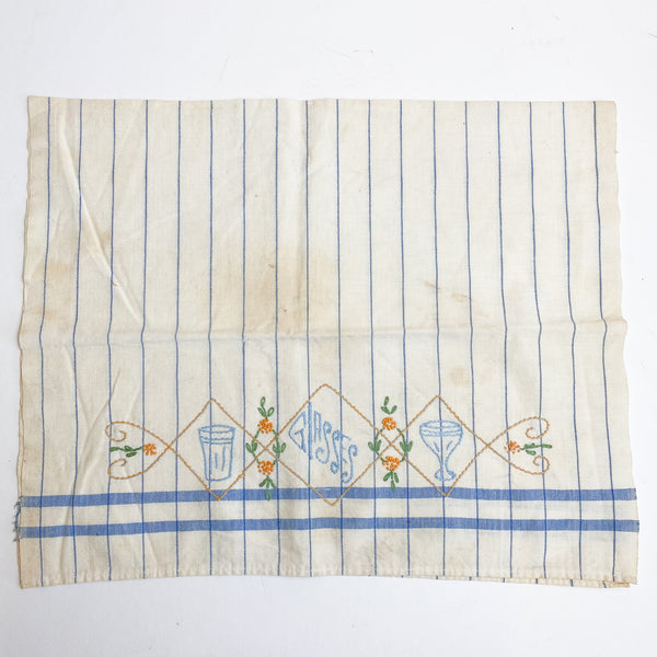 "Vintage Hand Embroidered Dish Towel - 16"" x 26"""