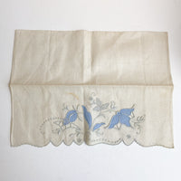 "Floral Hand Embroidered Vintage Cloth - 14"" x 20"""