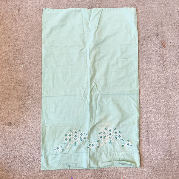 "Green Vintage Hand Embroidered Pillow Case - 18"" x 32"""