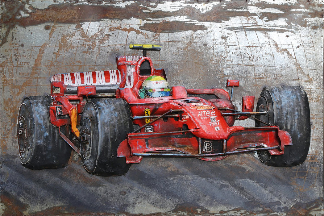 3D Metal Ferrari In Action Painting