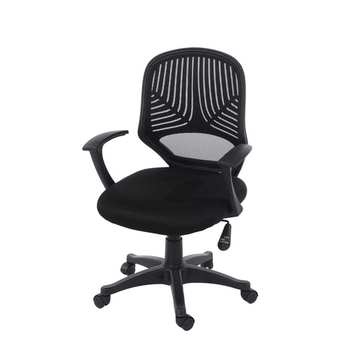 Home Office Chair In Black Mesh Back Black Fabric Seat With Black Base