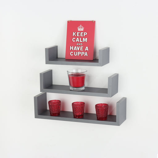 "Set Of 3 Floating ""U"" Shape Shelf Kit in Matt Grey"