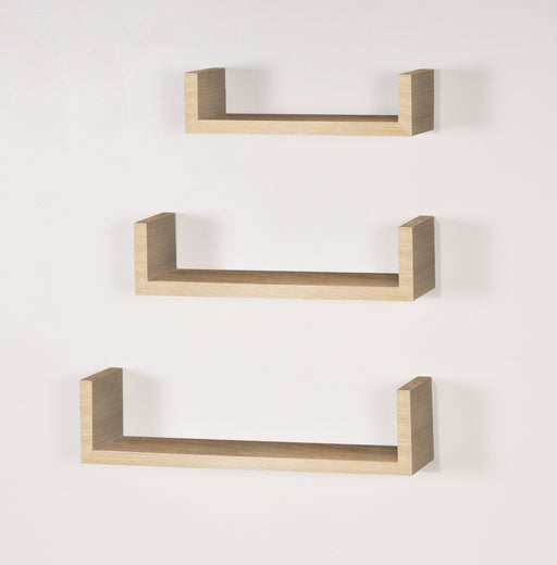 "Set Of 3 Floating ""U"" Shape Shelf Kit in Oak"