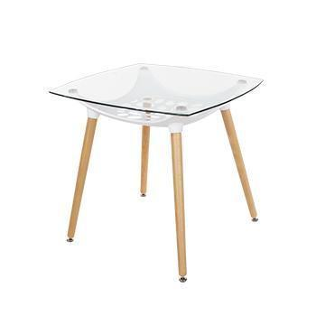 Square Clear Glass Top Table With White Plastic Underframe