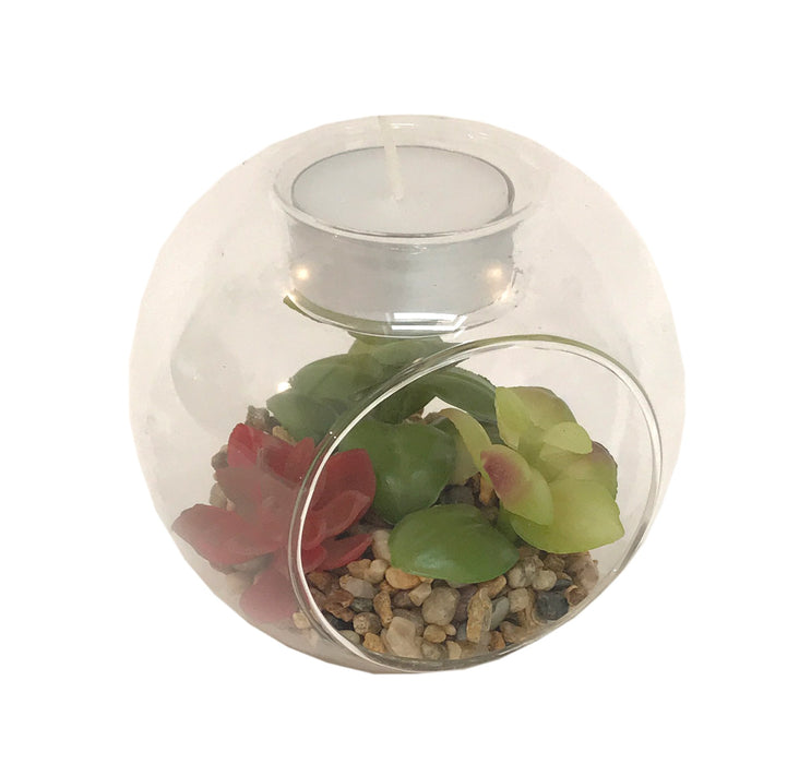 Succulent In Terrarium T/Light Holder - Design Two