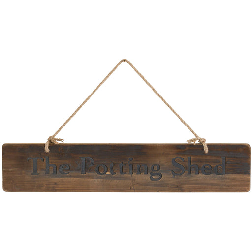 The Potting Shed Rustic Wooden Message Plaque
