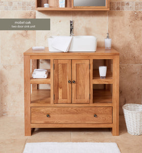 Solid Oak Two Door Single Sink Unit (Square)