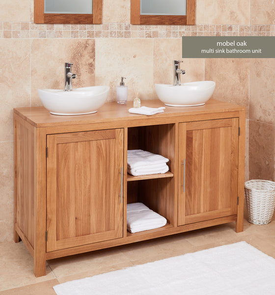Solid Oak Dual Sink Unit with Two Doors (Round)