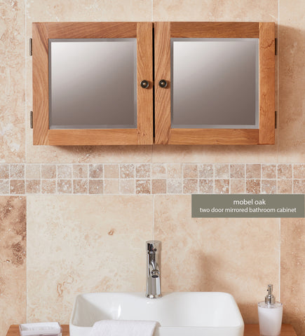 Bathroom-Collection-Solid-Oak-Mirrored-Double-Door-Cabinet